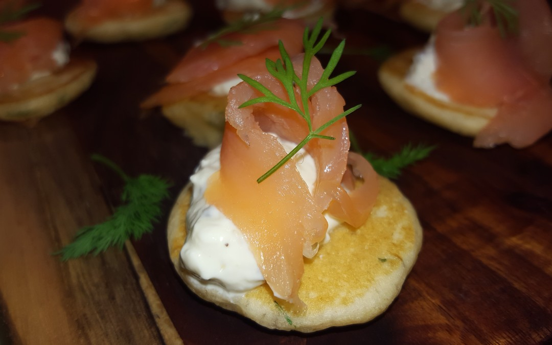 Tarragon Pancakes with Horseradish-Mustard Cream, Smoked Salmon & Dill