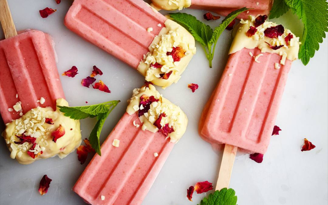Strawberry & Banana Frozen Yeogurt  dipped in White Chocolate & sprinkled with Rose Petals