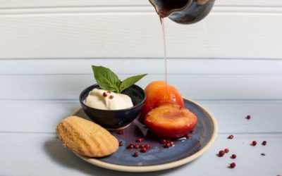 Poached Peaches in a Basil & Pink Peppercorn Scented Syrup with Vanilla Madeleines & Crème Fraiche