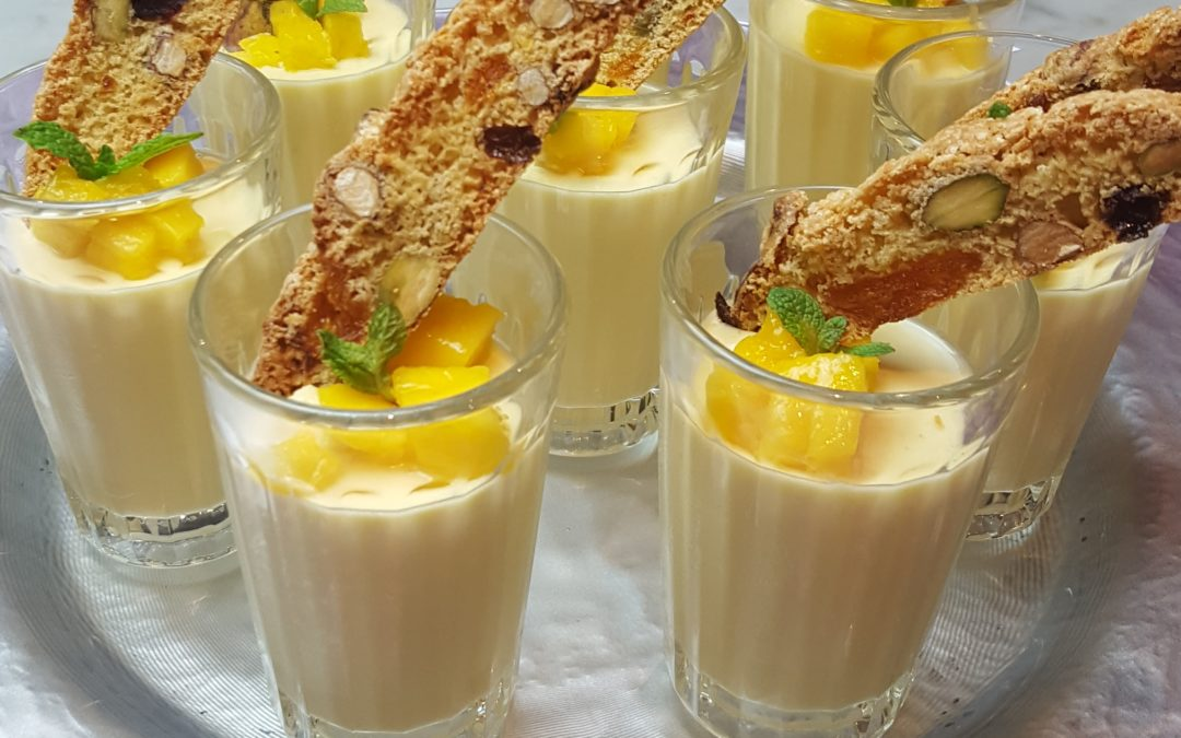Passion Fruit & Mango Possets with Apricot, Almond & Pistachio Biscotti