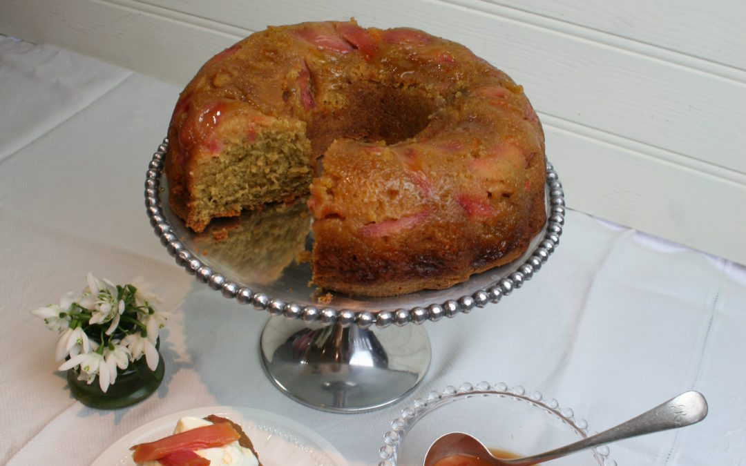 Rhubarb & Ras el Hanout Spice Cake with Greek Yoghurt