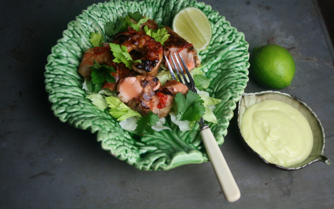 Asian Chilli-Miso Salmon & Shrimps with Wasabi Mayo