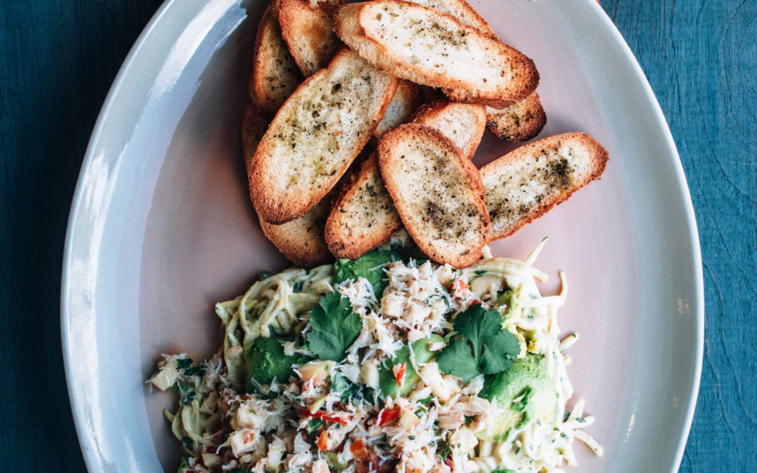 Crab with Chilli, Ginger & Crushed Avocado on Celeriac & Caper Remoulade with Crisp Toasts