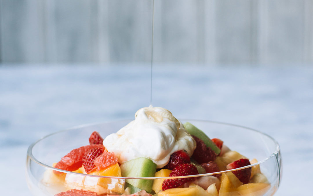Kaffir Lime & Lemongrass soaked Fruits with Honey Drizzled Greek Yoghurt