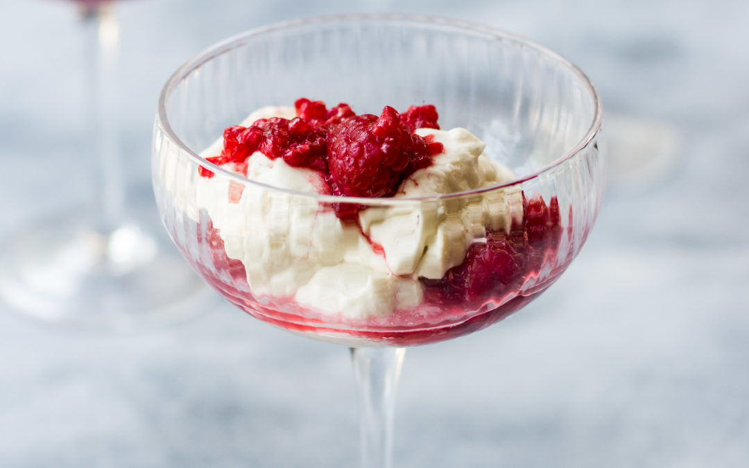 White Chocolate & Coconut Cream Mousse  layered with Elderflower Smashed Raspberries