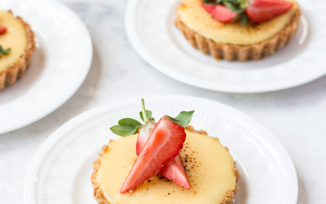 Lemon Cream Curd Tart  with Strawberries & Crème Fraiche