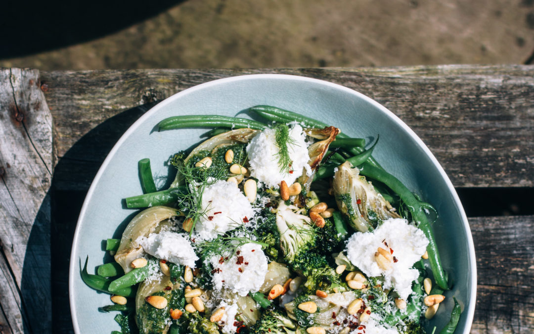Roast Fennel & Charred Broccoli Salad with Green Beans, Ricotta & Basil-Tarragon Dressing